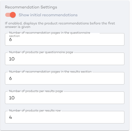 recommendation settings